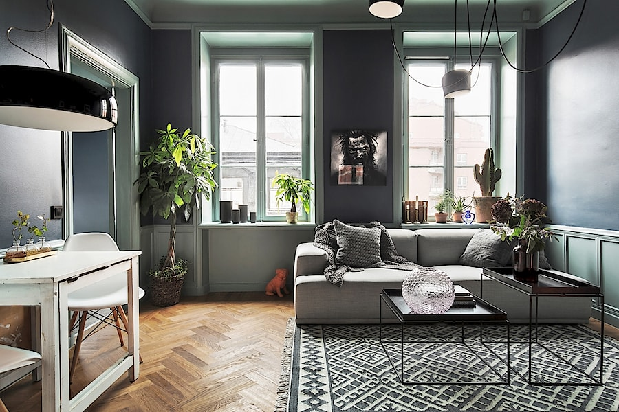 vardagsrum grå väggar