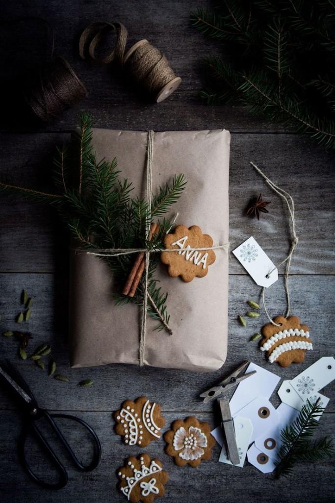 julklappsinslagning natur