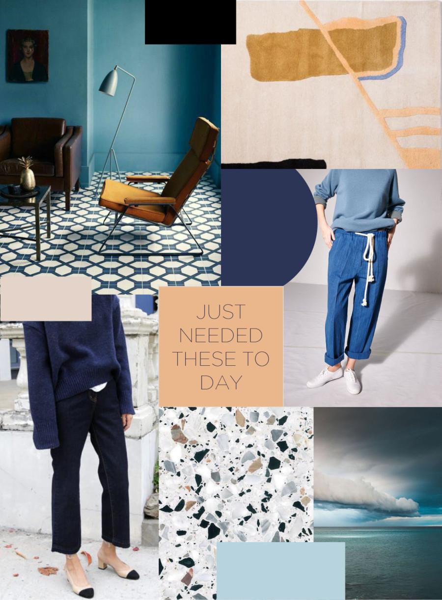 moodboard, mörkblått, peach, okra, jeans, denim