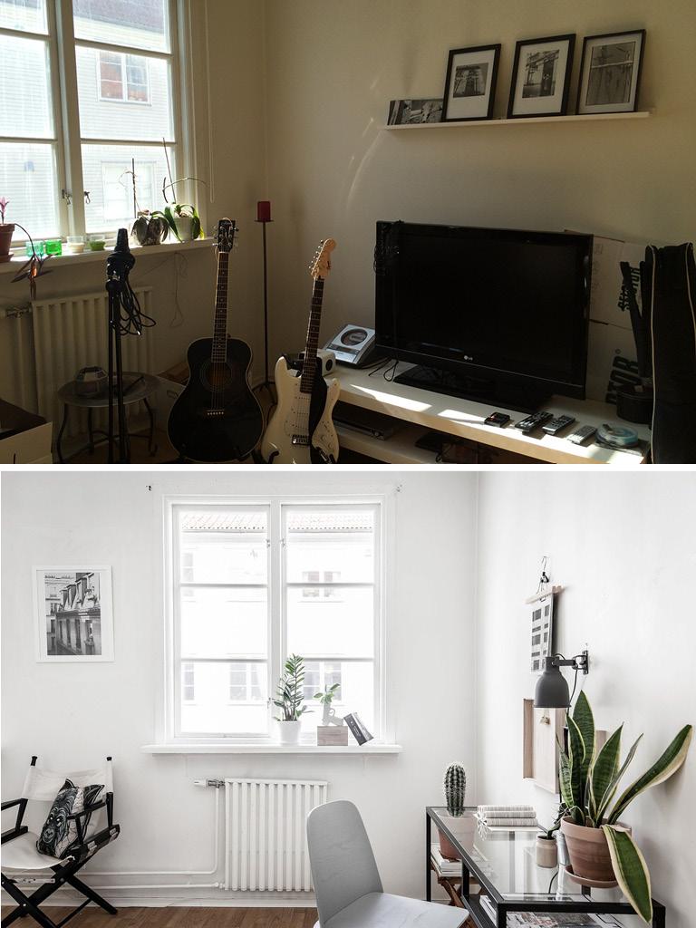 Homestyling före efter arbetsplats hemmakontor skrivbord