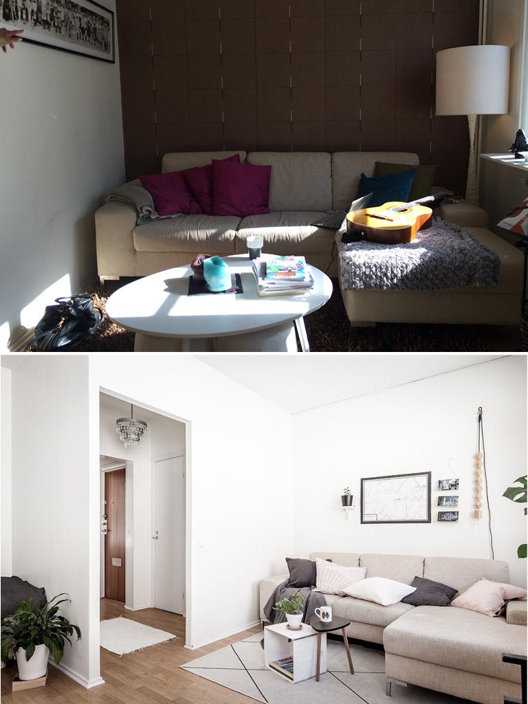 homestyling före efter vardagsrum